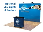 10 Ft Straight Tension Fabric Display and Podium - 24 Hr Service