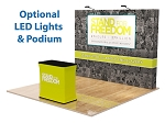 10 Ft Straight Fabric Pop Up Display and Podium - 24 Hr Service