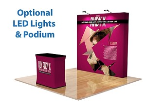 8 Ft Straight Fabric Pop Up Display and Podium - 24 Hr Service