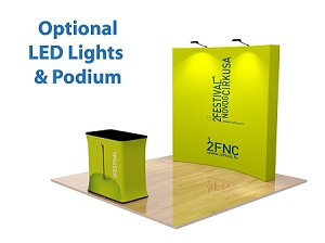 8 Ft Curve Fabric Pop Up Display and Podium - 24 Hr Service