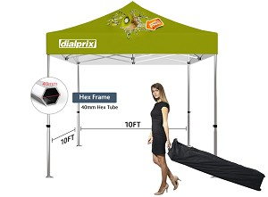 10' x 10' Deluxe Event Tent Kit - 40mm Hex Frame - Full Color Graphics
