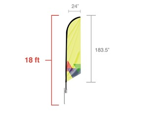 Feather angled flag - X Large 18 Ft. - 24 Hr Service