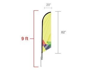 Feather angled flag - Small 7 Ft. - 24 Hr Service
